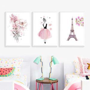 TABLEAU - TOILE Aquarelle Rose Fleurs Tour Eiffel Toile Peintures
