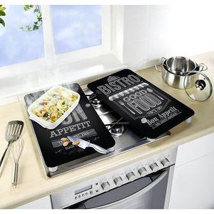Couverture en c/éramique 1 pi/èce 90 x 52 cm plaques de cuisson en verre /électro-induction Protection anti-/éclaboussures Plaque de d/écoupe en verre Noir /él/éphant QTA