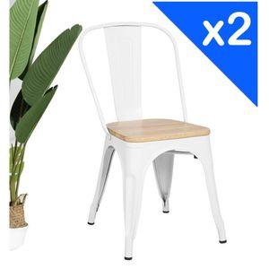 CHAISE KOSMI.FR Lot de 2 chaises blanches et bois style i