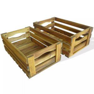 BOITE DE RANGEMENT Boîte de Rangement Caisse à Pommes 2 Pcs Bois d'ac