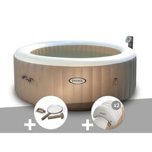 SPA COMPLET - KIT SPA Kit spa gonflable Intex PureSpa rond Bulles 4 plac
