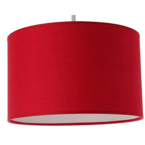 LUSTRE ET SUSPENSION Suspension cylindre tissu 29 cm rouge