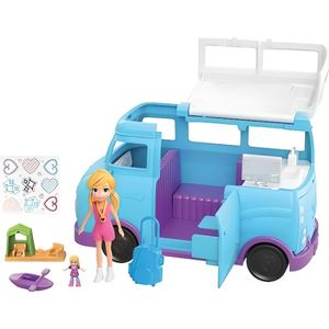 POUPÉE Coffret Polly Pocket Le Camping Car / Van Bleu Ave