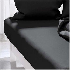 DRAP HOUSSE Drap housse uni 160x200 cm ATMO noir
