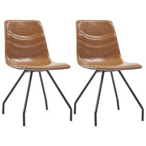 CHAISE Chaises de salle à manger 2 pcs Cognac Similicuir-