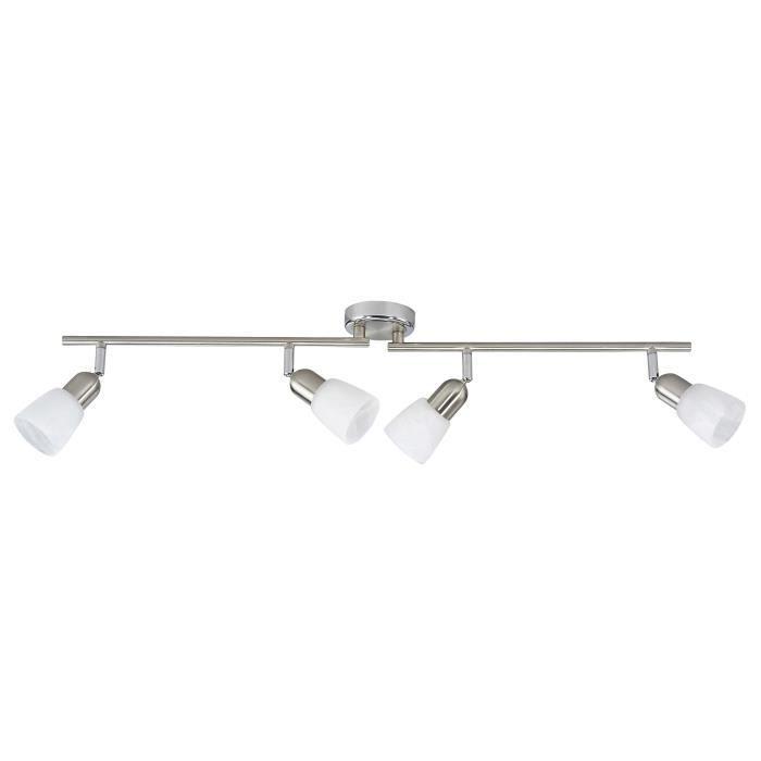 BRILLIANT Plafonnier barre à 4 lumières Sofia hauteur 13 cm E14 40W acier, chrome et blanc