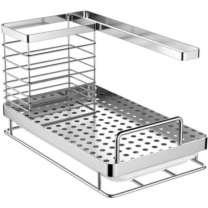 Oriware Rangement Evier Cuisine Support Brosse Éponge Organiseur pour à Poser Acier Inoxydable - 25 x 15 x 15 cm