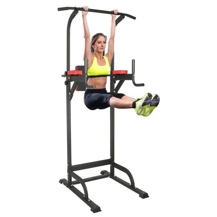 Fitness Barre de traction ajustable 195-215 cm acier + rembourrage PVC - Chaise romaine