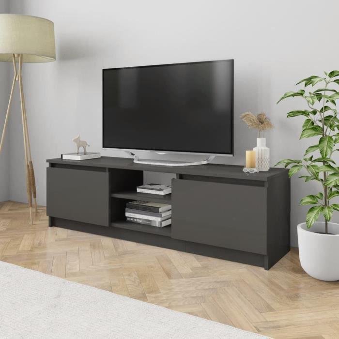 Meuble TV Gris brillant 120x30x35,5 cm Aggloméré -PAI