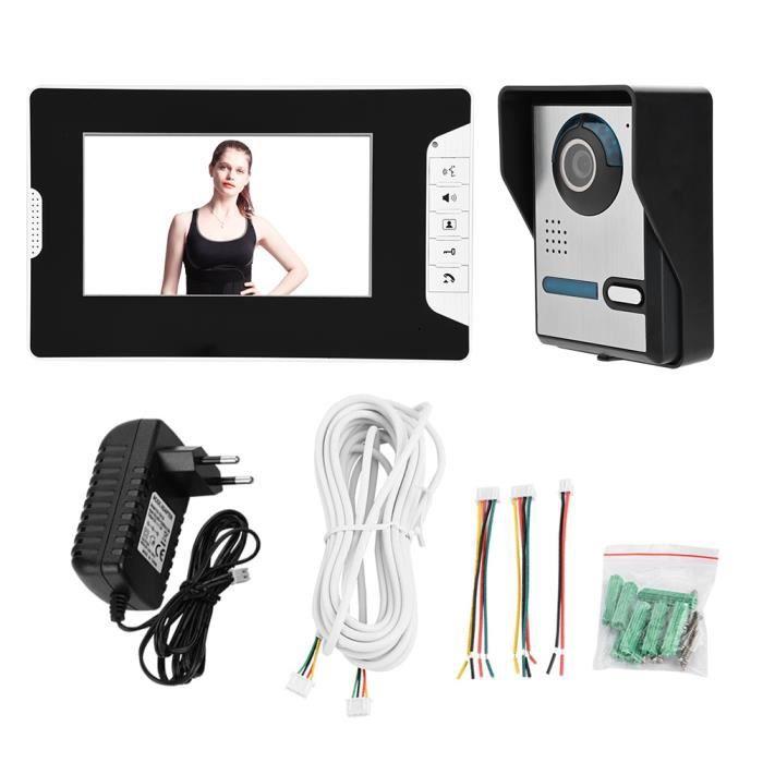 Système de caméra de sécurité intelligent Kit d'interphone vidéo de porte Kit vision nocturne étanche à la pluie-FAC
