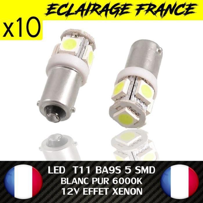 10 VEILLEUSE AMPOULE LED T11 BA9S T4W ANTI ERREUR ODB BLANC 6000K XENON 5 SMD