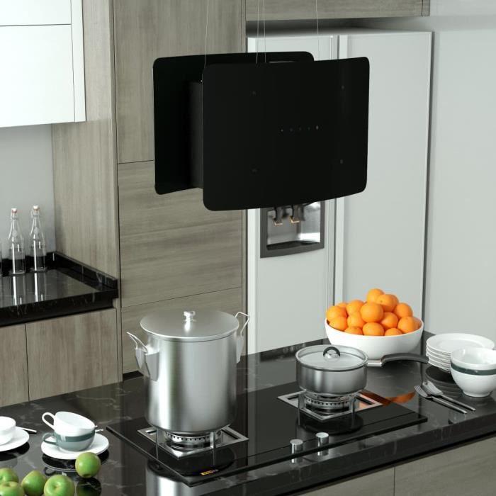 Hotte aspirante cuisine Hotte suspendue à LCD tactile Verre trempé Hotte décorative Silencieux- 55 x 37 x (62-137) cm (l x P x H)
