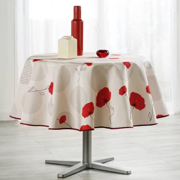 Nappe Fleur Coquelicot ronde - Anti Taches, Infroissable - 100% Polyester (Tissu)