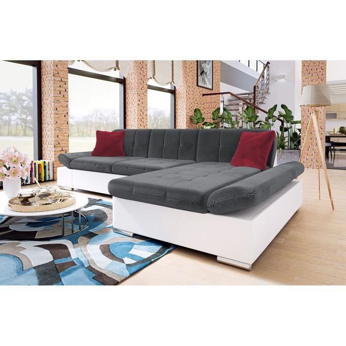 Canapé d'angle convertible capitonné en tissu et simili gris et blanc LOLA