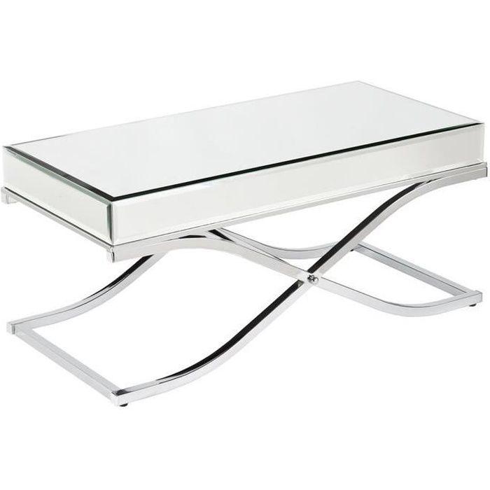 Table basse design plateau et contour en miroir avec un piètement croisée en acier inoxydable poli L. 100 x P. 60 x H. 50 cm