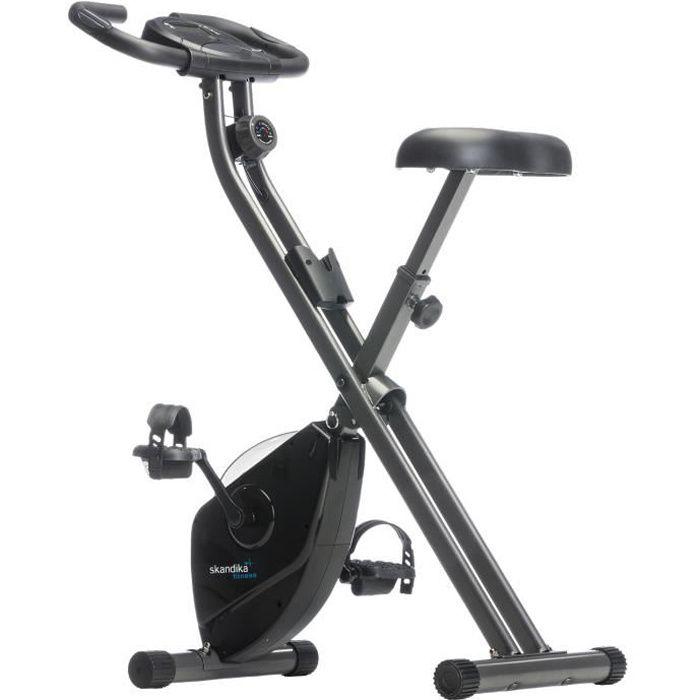 Skandika Foldaway X-1000 - Vélo d'appartement Forme X pliable - 8 niveaux de résistance - Poids jusqu'à 110kg - Noir