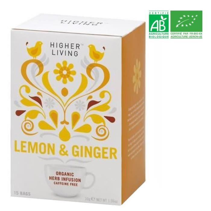 HIGHER LIVING Infusion Citron Gingembre Bio - 30 g