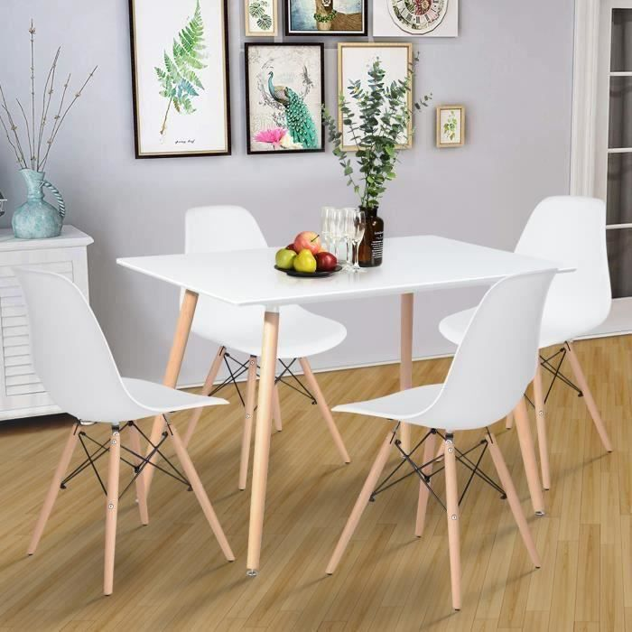 Table à Manger Rectangulaire de 4 à 6 Person Table de Salle à Manger Scandinave Minimaliste - Pieds Rondes en Bois 110 x 70 cm Blanc
