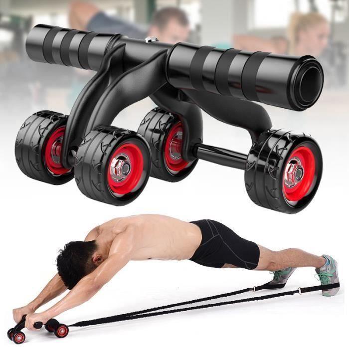 Appareils de Fitness 3 en 1 Roue Abdominale + bande de traction + genouillère Kit Complet pour Fitness Exercices Musculation
