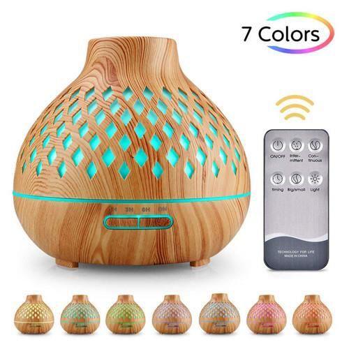 Nouvel humidificateur creux diffuseur d'arôme de grain de bois cadeau purificateur d'air coloré