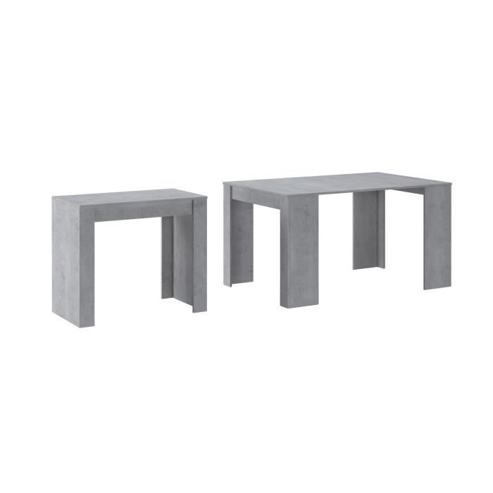 Skraut Home - Table console extensible jusqu'à 140 cm, couleur CIMENT, Dimensions fermée : 90x50x78cm.