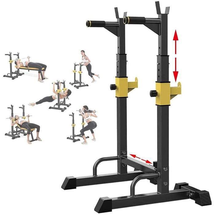 BANC DE MUSCULATION Squat Rack Halt&eacuterophilie Support D'halt&egraveres Ajustable Multifonctionnel Rack Musculation, Charg764