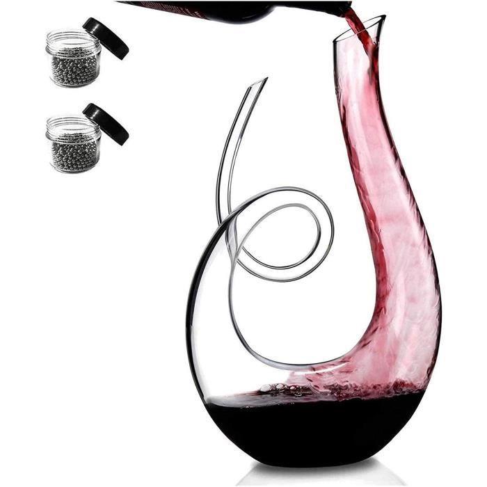 WHZG Deacutecanteur de vin en cristal souffleacute, carbonisateur de vin rouge sans plomb avec perles de nettoyage Ensemble, super