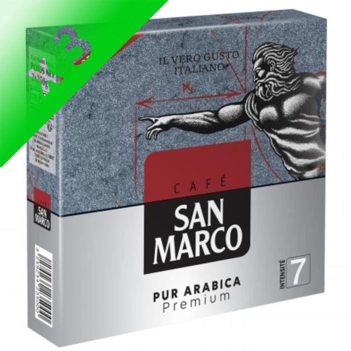 [LOT DE 3] SAN MARCO Lot de 2 sachets Café moulu - Pur arabica - 2 x 250g