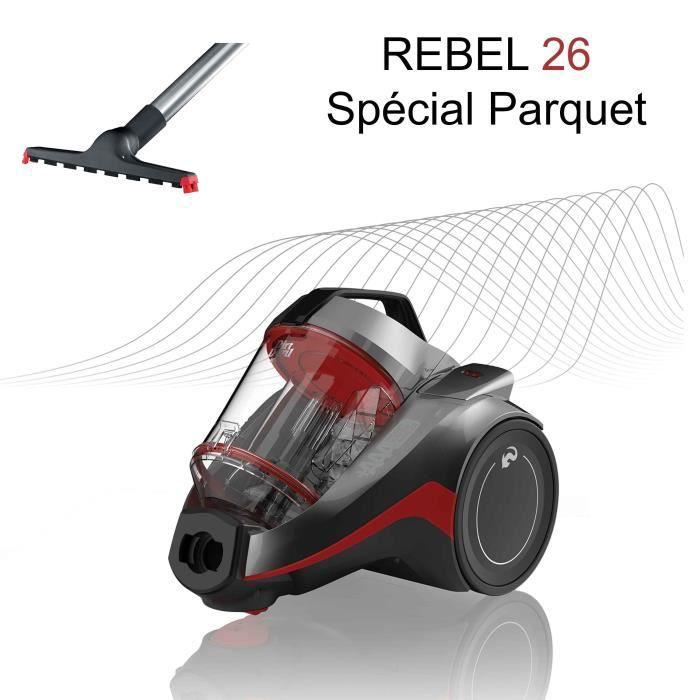 DIRT DEVIL Aspirateur sans sac cyclonique 3A+AA DD2226-3 spécial parquet - Rebel 26 - 75 dB - 550 W - Gris métal et rouge