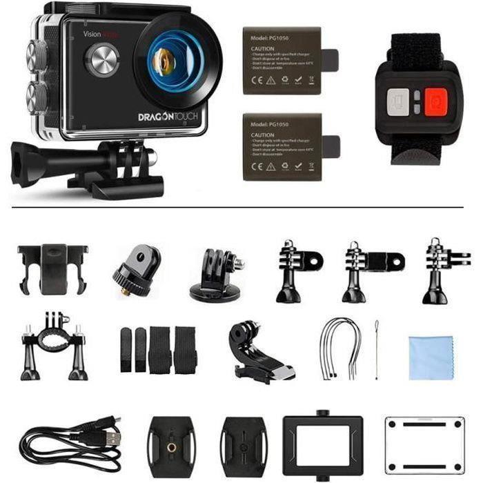 Dragon Touch Vista 5 Caméra Sport Étanche 131fts 4K Ultra HD 12 MP Action Caméra WiFi & Écran Tactile Kit d'Accessoires et 9 Modes