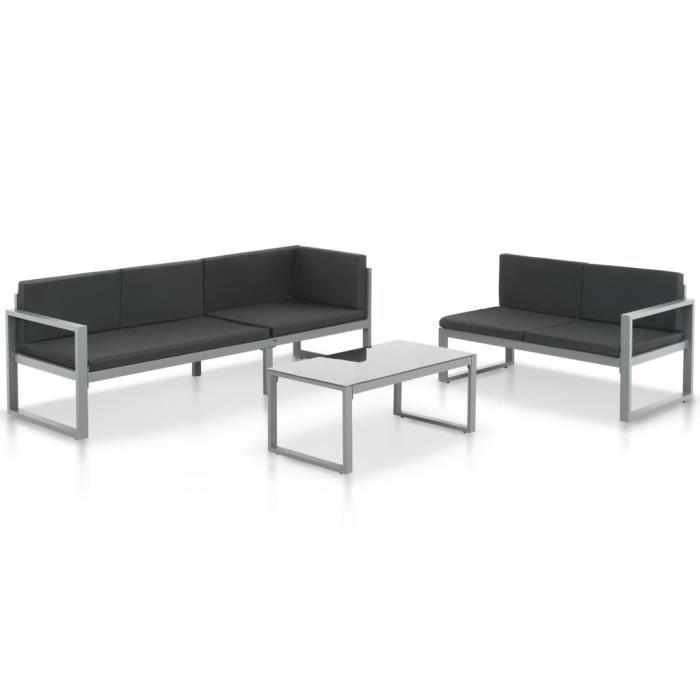 Duokon Salon de jardin 3 pcs et coussins Aluminium Noir