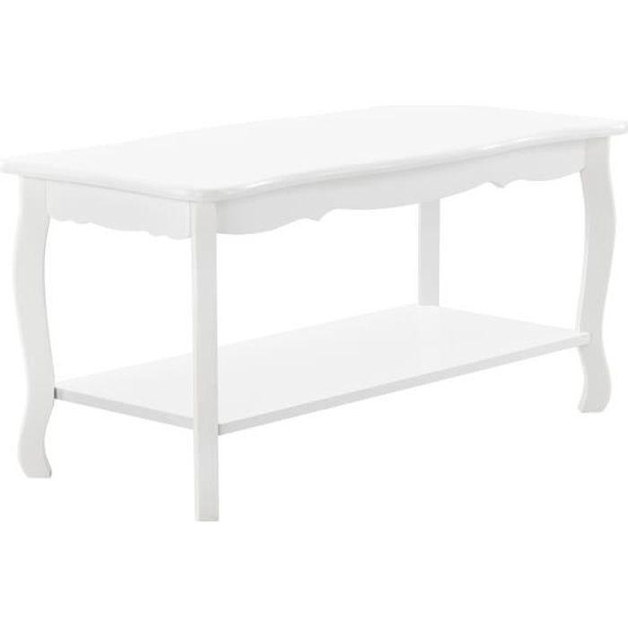 [en.casa] Table Basse Table de Salon en Style Shabby Chic MDF Sapin Laqué Blanc 87,5cm x 40cm x 42cm