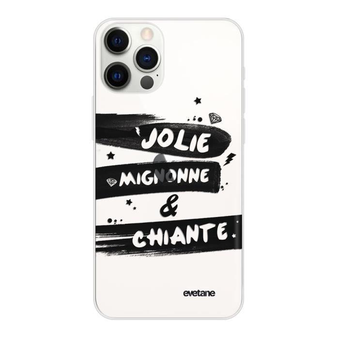 Coque iPhone 12/12 Pro 360 intégrale transparente Jolie Mignonne et chiante Ecriture Tendance Design Evetane.