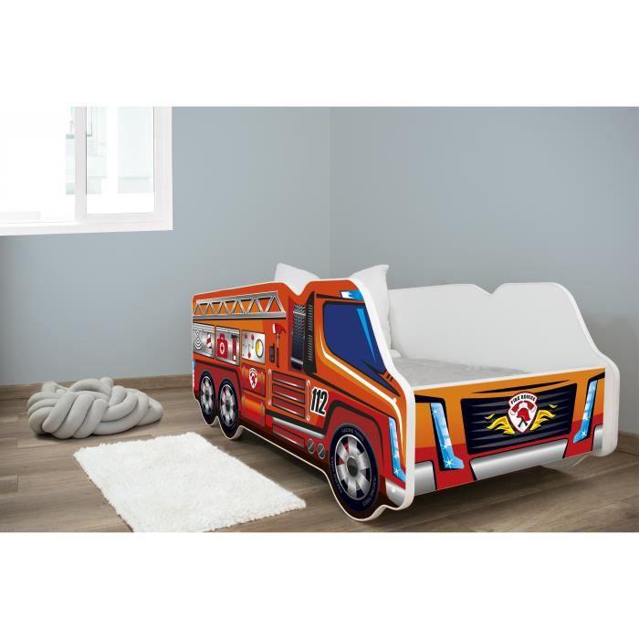 TRUCK - Lit d'enfant motif camion pompier - 140x70cm - Lit + matelas + sommier - Chambre d'enfant