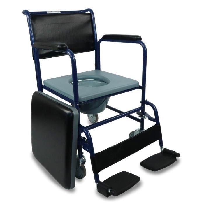 Chaise percée/ toilette avec roulettes et couvercle - Repose-pieds rabattables et accoudoirs amovibles - Bleu - Barco - Mobiclin