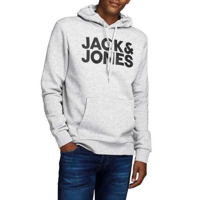 JACK & JONES Sweatshirt à Capuche Gris/Noir Homme