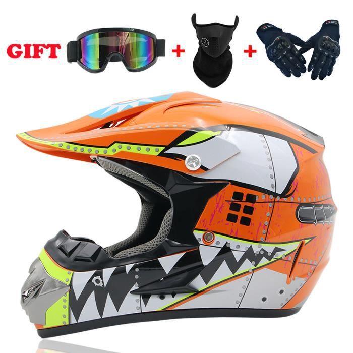 Casque de moto, casque tout-terrain, casque tout-terrain homme quatre saisons, petit casque (avec lunettes et gants)