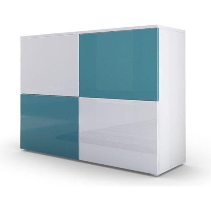 Commode moderne façades bicolores turquoises et blanches laquées et corps mat blanc