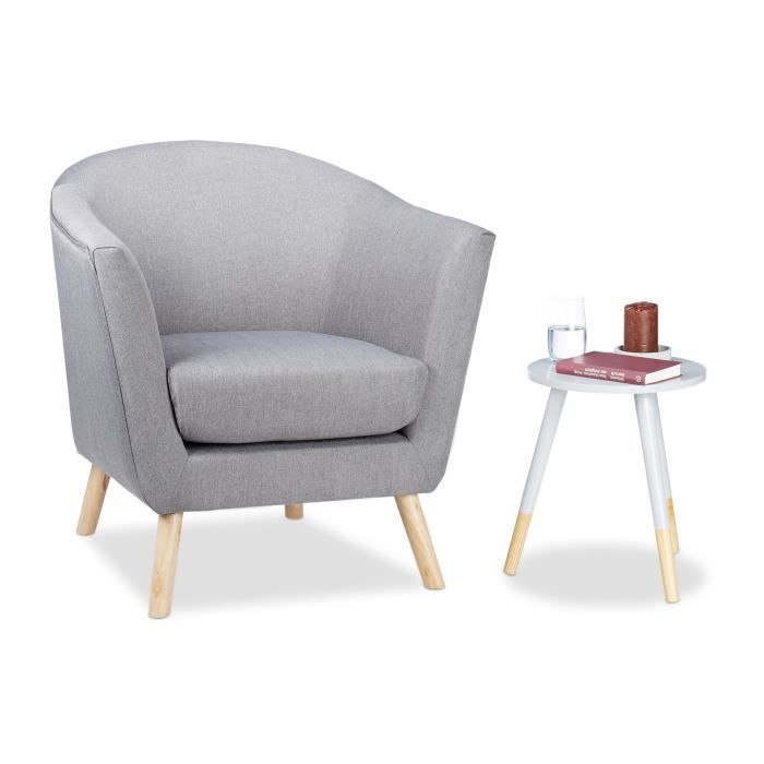 Relaxdays Fauteuil cocktail Retro années 50 chaise salon vintage scandinave nordique tissu HxlxP: 81 x 78 x 70 cm, gris