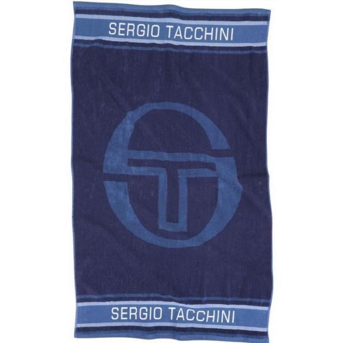 serviette de bain bleue en coton Sergio Tacchini