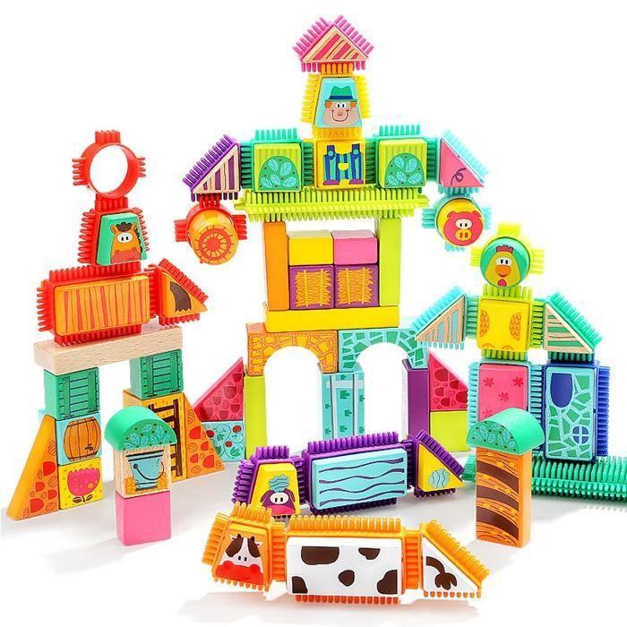 Jeu de Construction Dessin animé Ferme Animaux Blocs de Construction éducatif Créatif Empilage Jouet pour Enfant Assemblage Cadeau