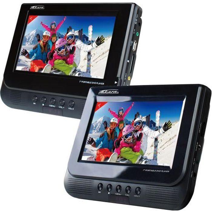 TAKARA VRT177 Lecteur DVD Portable - Double Écran - Port USB - Noir