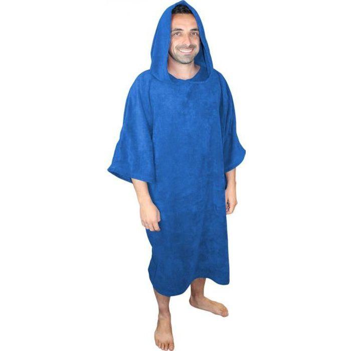 Serviette poncho de bain ou de plage - Adulte - Bleu