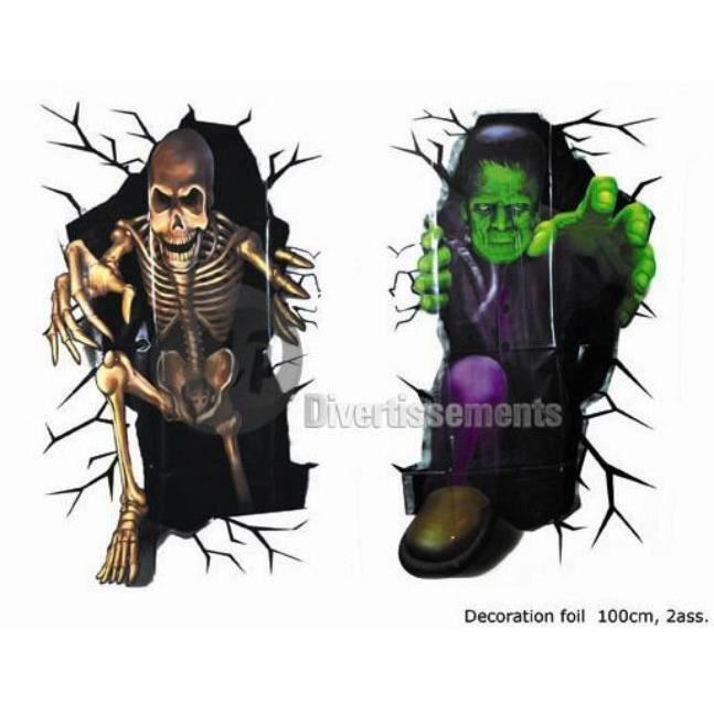 D coration murale squelette halloween horreur achat for Decoration murale halloween