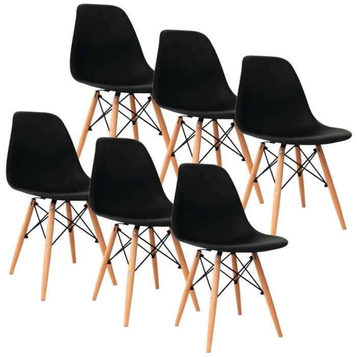 lot de 6 chaises noir design avec 4 pieds en bois achat. Black Bedroom Furniture Sets. Home Design Ideas