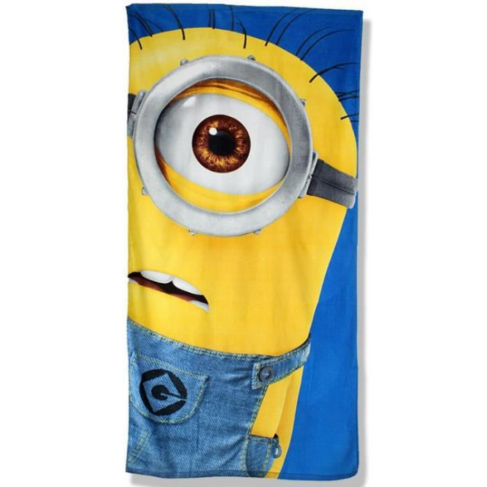 drap de plage bain serviette bleu les minions enfant achat vente serviette de plage cdiscount. Black Bedroom Furniture Sets. Home Design Ideas