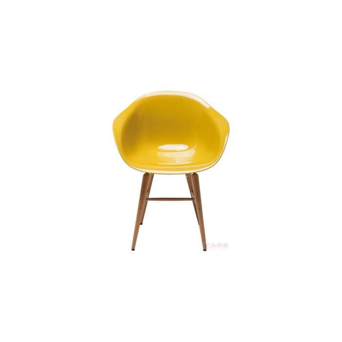 Chaise forum wood moutarde kare design achat vente - Chaise jaune moutarde ...