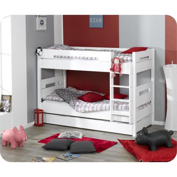 eb lit superpos enfant bow blanc achat vente lits. Black Bedroom Furniture Sets. Home Design Ideas