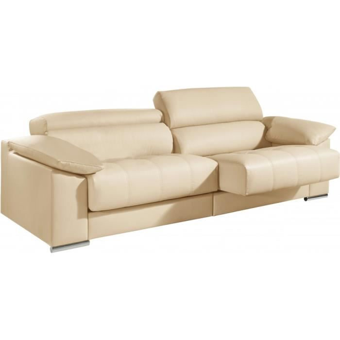 Canap 2 places cuir cr me relax t ti res r gla achat - Canape relax cuir 2 places ...