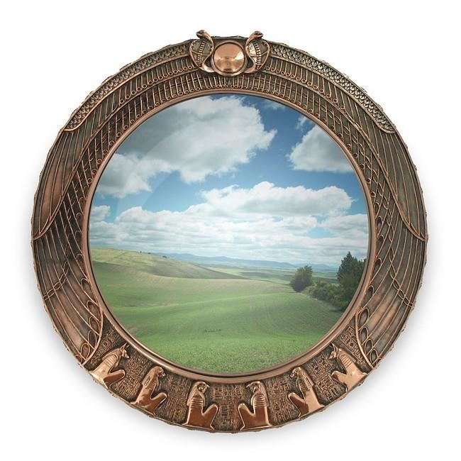 Miroir rond en cuivre d coration egyptienne achat for Decoration egyptienne murale